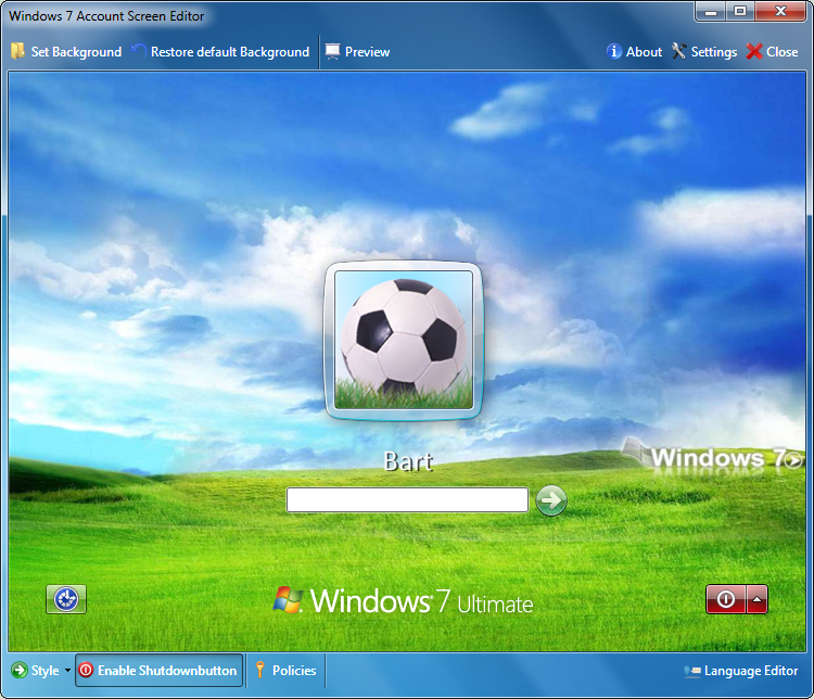Windows 7 Logon screen editor